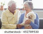 senior couple holding a dog in... | Shutterstock . vector #452789530