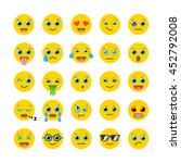 set of flat emoticons. vector... | Shutterstock .eps vector #452792008