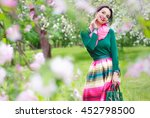 portrait beautiful happy woman... | Shutterstock . vector #452798500