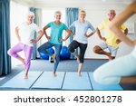 instructor performing yoga with ...   Shutterstock . vector #452801278
