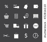 black and white shopping icons... | Shutterstock .eps vector #452816110