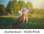 young woman sitting on big... | Shutterstock . vector #452819518