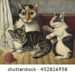 Stock photo cat and kittens by anonymous c american painting oil on millboard painting of a cat 452826958