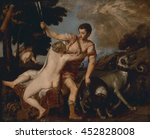 Venus And Adonis  By Titian  C...