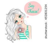 hand drawn beautiful cute girl...   Shutterstock .eps vector #452831254