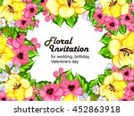 invitation with floral... | Shutterstock .eps vector #452863918