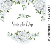 Stock photo watercolor white flowers bouquets and border great start for wedding cards 452872564