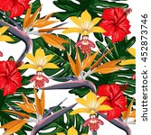 tropical flowers vector pattern | Shutterstock .eps vector #452873746