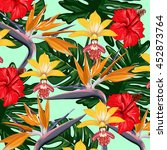tropical flowers vector pattern | Shutterstock .eps vector #452873764