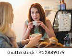 attractive woman talking to... | Shutterstock . vector #452889079