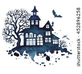 halloween house and trees...   Shutterstock .eps vector #452896258