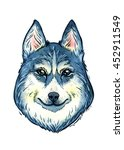 isolated watercolor husky... | Shutterstock . vector #452911549