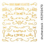 set of gold textured hand drawn ... | Shutterstock . vector #452933470