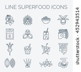 superfoods line vector icons.... | Shutterstock .eps vector #452943514