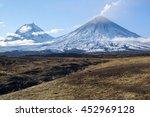 Small photo of Russia, Far East, Kamchatka Peninsula. Klyuchevskaya Hill(4800m) and Kamen Volcano(4585m) The volcano of Klyuchevskaya Hill (4800 m) is the highest active volcano of Eurasia.