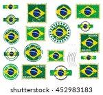 brazil grunge postal stamps and ... | Shutterstock .eps vector #452983183