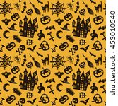 halloween seamless pattern ... | Shutterstock .eps vector #453010540