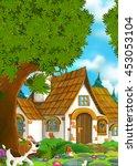 cartoon background of an old... | Shutterstock . vector #453053104