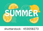 summer banner with hand drawn... | Shutterstock .eps vector #453058273