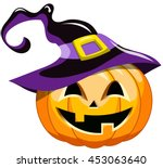 cartoon halloween pumpkin... | Shutterstock .eps vector #453063640