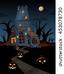 the illustration of a haunted... | Shutterstock .eps vector #453078730