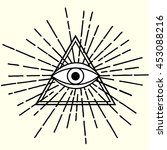all seeing eye in triangle... | Shutterstock .eps vector #453088216