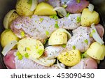raw chicken legs and potatoes... | Shutterstock . vector #453090430