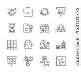 thin line icons set. flat... | Shutterstock .eps vector #453101773
