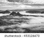 misty morning after heavy rain. ... | Shutterstock . vector #453126673