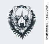 bear head  logo  mascot  emblem ... | Shutterstock .eps vector #453132934