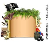 vector pirate scroll with palm | Shutterstock .eps vector #453133018
