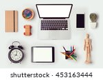 designer desk objects mock up... | Shutterstock . vector #453163444