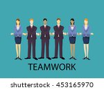 vector teamwork illustration.... | Shutterstock .eps vector #453165970