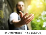 giving a helping hand  asking... | Shutterstock . vector #453166906