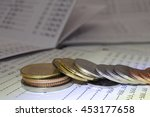 rows of coins failed for... | Shutterstock . vector #453177658