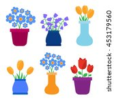 spring flowers in pots and... | Shutterstock .eps vector #453179560