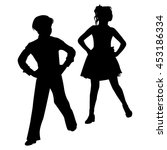 silhouette dancing children on... | Shutterstock .eps vector #453186334