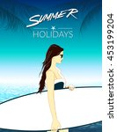 summer holidays vector... | Shutterstock .eps vector #453199204