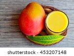 fresh mango smoothie ripe mango ... | Shutterstock . vector #453207148