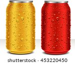 aluminum cans in red and gold... | Shutterstock .eps vector #453220450