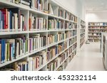 inside a modern library with...
