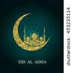 eid al adha greeting card. eid... | Shutterstock . vector #453235114