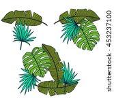 tropical leaves silhouette fa e  | Shutterstock .eps vector #453237100
