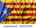 ruffled waving catalonia flag | Shutterstock . vector #453237994