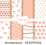 baby girl patterns set | Shutterstock .eps vector #453259336