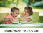 two little 2 years old girls... | Shutterstock . vector #453272938