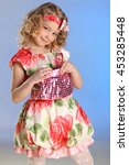 the little spruced girl with...   Shutterstock . vector #453285448