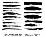 set of black paint  ink brush...