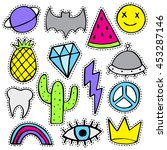 fun patch set. print pin  badge ... | Shutterstock .eps vector #453287146