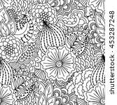 seamless black and white... | Shutterstock . vector #453287248